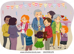 illustration family mingling visitors family gathering stock