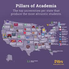 Chicago Colleges Map by Pillars Of Academia The Colleges That Produce The Most Altruistic