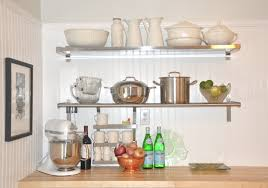 fabulous chrome shelving for kitchen with white wall shelves