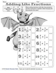 adding like fractions worksheet teaching education pinterest