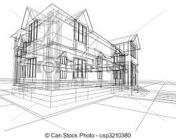 stock illustration of wireframe of cottage 3d rendering wire