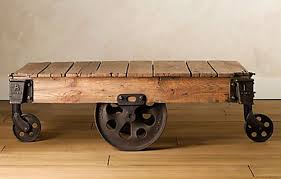 reclaimed wood coffee table with wheels reclaimed factory cart table from restoration hardware