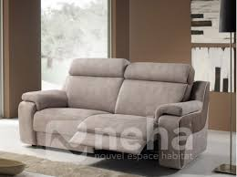 canap relax tissu canapé relaxation microfibre taupe aspect cuir haut de gamme