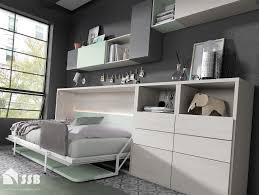 horizontal single desk bed wall bed with desk