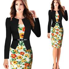 Plus Size Casual Work Clothes 2017 Women One Piece Patchwork Floral Print Elegant Business Party