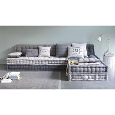 divano materasso maison du monde banquette d angle modulable 6 places en coton gris banquette