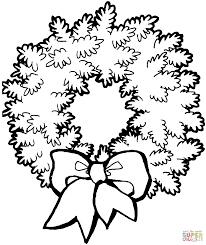 christmas wreath with bow coloring page free printable coloring
