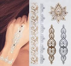 1pcs indian designs golden silver flash tribal henna