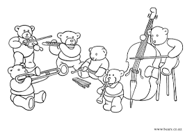 bear orchestra teddy bear coloring pictures