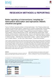 better reporting of interventions template for intervention