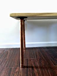 salvaged wood and copper leg diy coffee table u2014 melissa voigt
