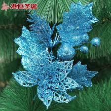 Christmas Tree Decorations In Blue And Silver by Gold Silver Blue Artificial Christmas Flowers Decoration Plastic