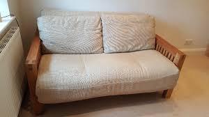 futon pillows two seat solid oak futon by futon company oke range with three