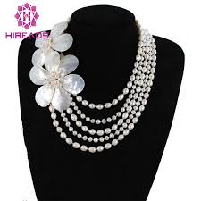 pearl necklace wedding jewelry images New top design pearls necklace with shell flowers 5 rows jpg
