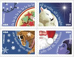 what side does the stamp go on usps to dedicate christmas carols forever stamps