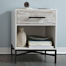 Black Wood Nightstand Wood Tiled Nightstand West Elm