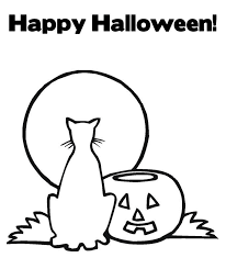 happy halloween coloring pages printable cat pumpkin