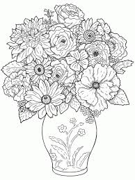 flower vase drawing rose flower set highly detailed hand drawn