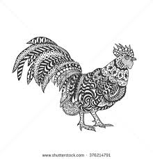 rooster birds black white hand drawn stock vector 358354622