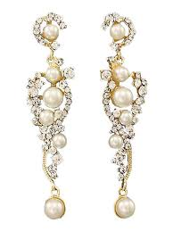 White Chandelier Earrings White Pearl And Rhinestone Goldtone Chandelier Earrings Blue