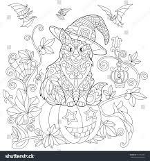 Halloween Flying Bats Coloring Page Cat Hat Sitting On Stock Vector 717953563 Shutterstock