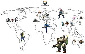 World Map Cartoon by Overwatch Heroes World Map Gaming
