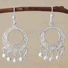 Chandelier Earings 950 Silver Filigree Chandelier Earrings From Peru Sparkling