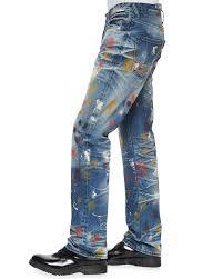 prps goodlife paint splatter denim jeans in blue for men lyst