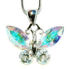swarovski crystal chain necklace images Swarovski crystal aurora borealis butterfly bridal wedding charm jpg