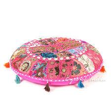 pink boho patchwork bohemian round floor seating meditation pillow