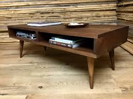 furniture dark wood mid century coffee table with storage and