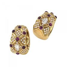 earrings clip on ruby and diamond estate clip on hoop earrings