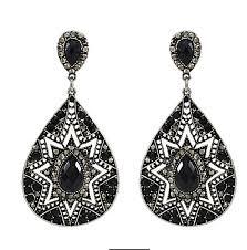 black dangle earrings vintage charm black dangle earrings for women at rs 599 set