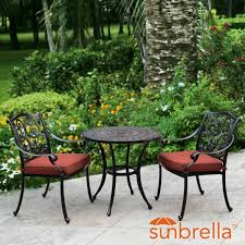 15 Inch Round Outdoor Seat Cushions by Villa Flora 3 Piece Cast Aluminum Patio Bistro Set W Round Table