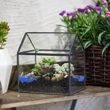 copper black house shape moss fern plant flower pot vintage