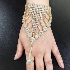 crystal ring bracelet images Ring bracelet combo g2 gold plated body with rhinestone crystal jpg