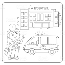 coloring page outline of doctor ambulance car hospital stock