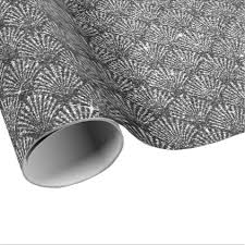 silver glitter wrapping paper scales seashell black deco gray silver glitter wrapping paper