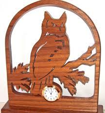 owl desk clock owl decor owl gift idea wood clock scroll