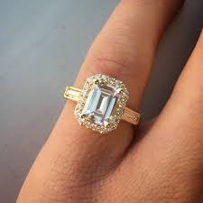 emerald cut diamond engagement rings emerald cut diamond engagement ring with pave diamond halo and
