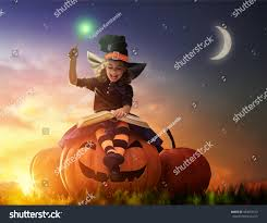 happy halloween cute cheerful little witch stock photo 483055513