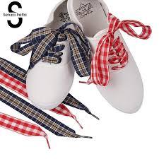 ribbon shoelaces senza fretta flat checkered ribbon shoelaces gingham plaid shoe