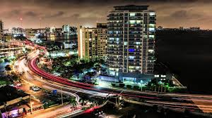 miami city lights at time lapse