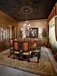 dining room with copper metallic interior paint color and wall
