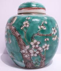 a 20th century chinese enamel decorated prunus lidded ginger jar