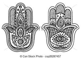 clipart vector of vector indian hamsa with ornaments