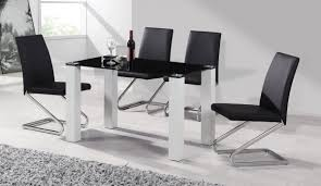 White Gloss Dining Table And Chairs Enchanting Black And White Dining Table Room Marble High Gloss