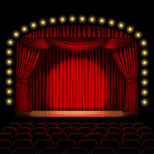 red curtains on stage mirth in a box