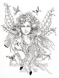 fairy forest fairy tangles coloring sheet fairies owls