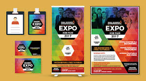 id card graphic design professional expo job fair flyer business card i d card standy